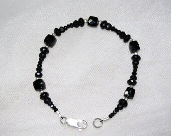 Faceted Black Spinel Multi-Shape Bracelet