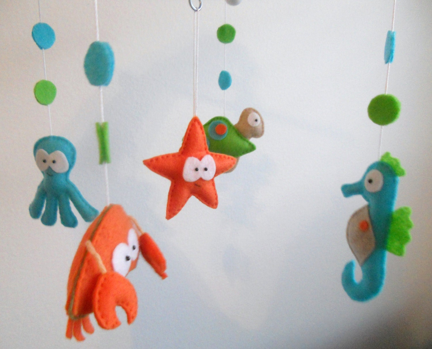 Baby crib mobile sea animals mobile custom made mobile for Sea animal baby mobile