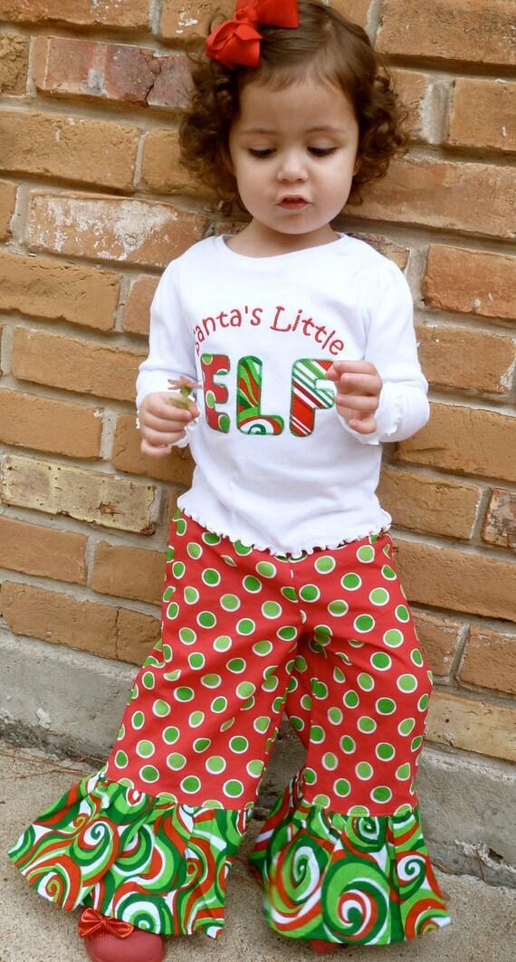Santa's Little Elf Applique Shirt and Matching Ruffle Pant