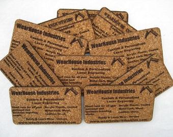Custom Cork business Cards   (set of 24)