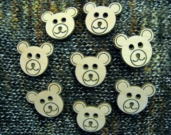 Laser Engraved Teddy Bear Buttons