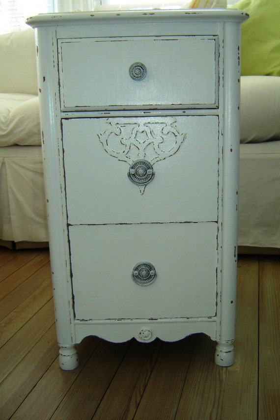 Very Cute End Table Night Table Painted White and Distressed