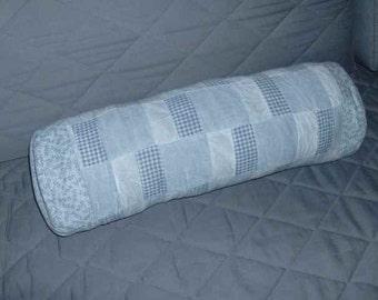 21 x 21 Blue Cotton Denum Roll Pillow Cover