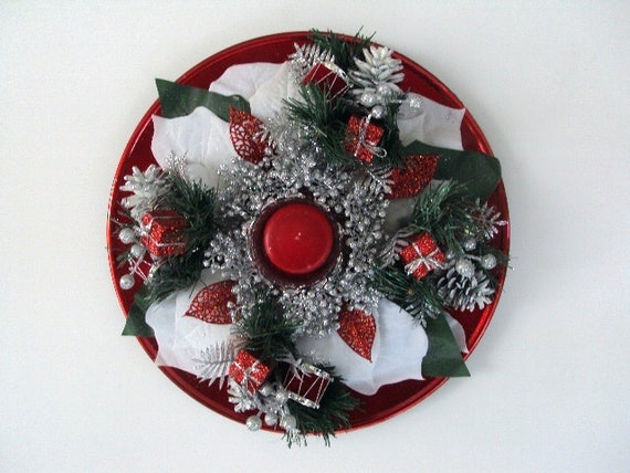 Christmas Centerpiece Red Charger Plate Embellished With Christmas Picks& Silver Surrounding the  Candleholder