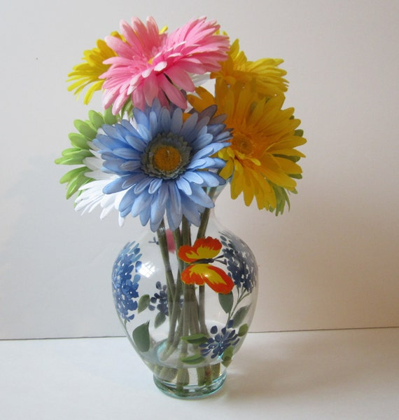 Artificial Silk Floral Arrangement With Mulit Color Gerbera Daisies in Painted Vase