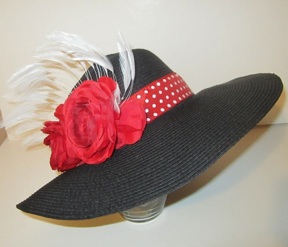 Wide Brim Hat Black Embellished With Red Polka Dot Ribbon 2 Red Flowers & White Feathers