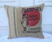 Planter Peanuts Burlap Pillow