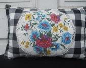 Big Black & White Check Pillow with Applique