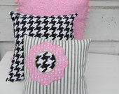 Cute trio of pillows in pinks, black and a touch of lime green