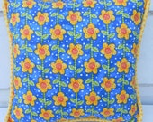 Springy Bright Blue and Yellow Floral Pillow