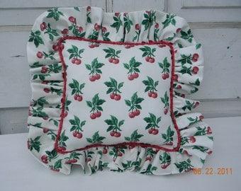 SALE SALE SALE Beautiful Bright Cherry Print Pillow