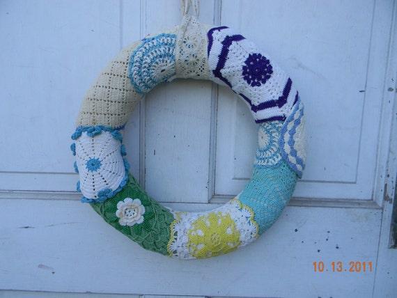 Vintage Crocheted Potholders Kitchen Wreath