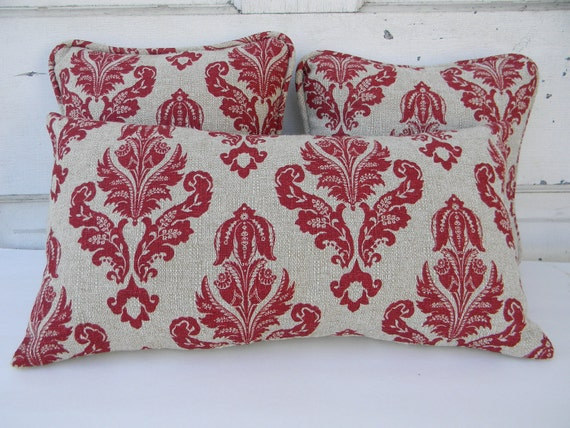 Trio of Red Damask Pattern Pillows