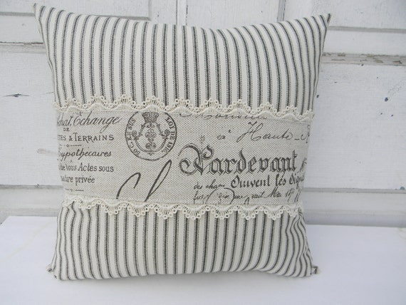 Ticking and French Words Pillow