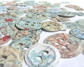 100 Punched Paper Buttons, Embossed, Vintage Map