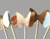 24 Party Picks, Cupcake Toppers, Shabby Chic, Butterflies