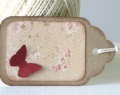 4 Shabby Chic Gift Tags, Butterfly Tags, Kraft Tags, Scalloped, Large Tags