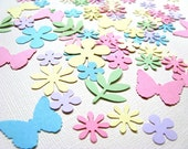 Spring/Summer Mix, 100 Punched Flowers, Butterflies and Leaf Fronds Mix, Pastel, Confetti