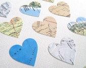 100 Large Die Cut Hearts, Handmade, Vintage Map, Confetti, Embellishments