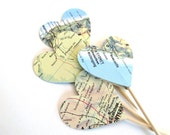 Vintage Map Heart Cupcake Toppers, Party Decor, Travel Theme, Double-Sided, Graduation, Weddings, Showers, Birthdays, Atlas, Set of 15