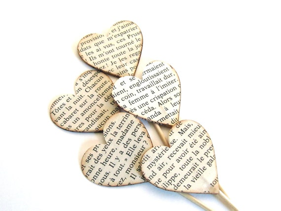 Vintage French Text Heart Cupcake Toppers, Party Decor, Valentine's Day, Weddings, Showers, Set of 15
