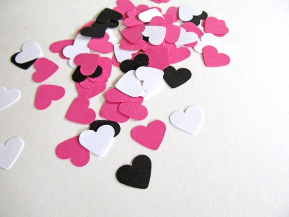 200 Punched Hearts, Pink, Black, White Confetti, Party Decor, Valentine's Day