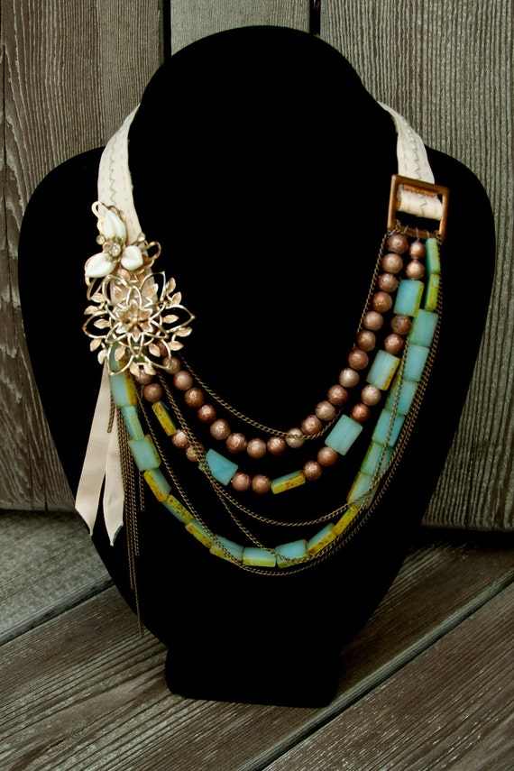 SALE Turquoise and Brass Necklace - made with vintage brooches