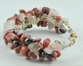 RESERVED FOR ARTLAB - Rhodonite and Pearl Cuff