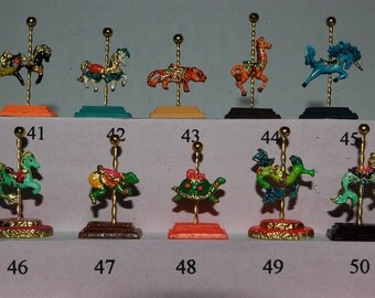 Dollhouse Miniature Carousel Stand Figurine Kit- choose from 53 animals
