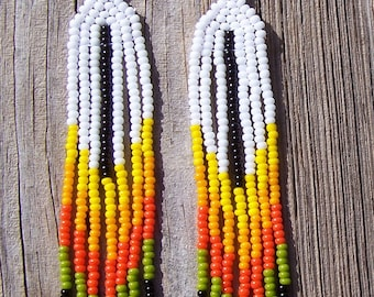Native American Beaded Feather Fringe Earrings FALL