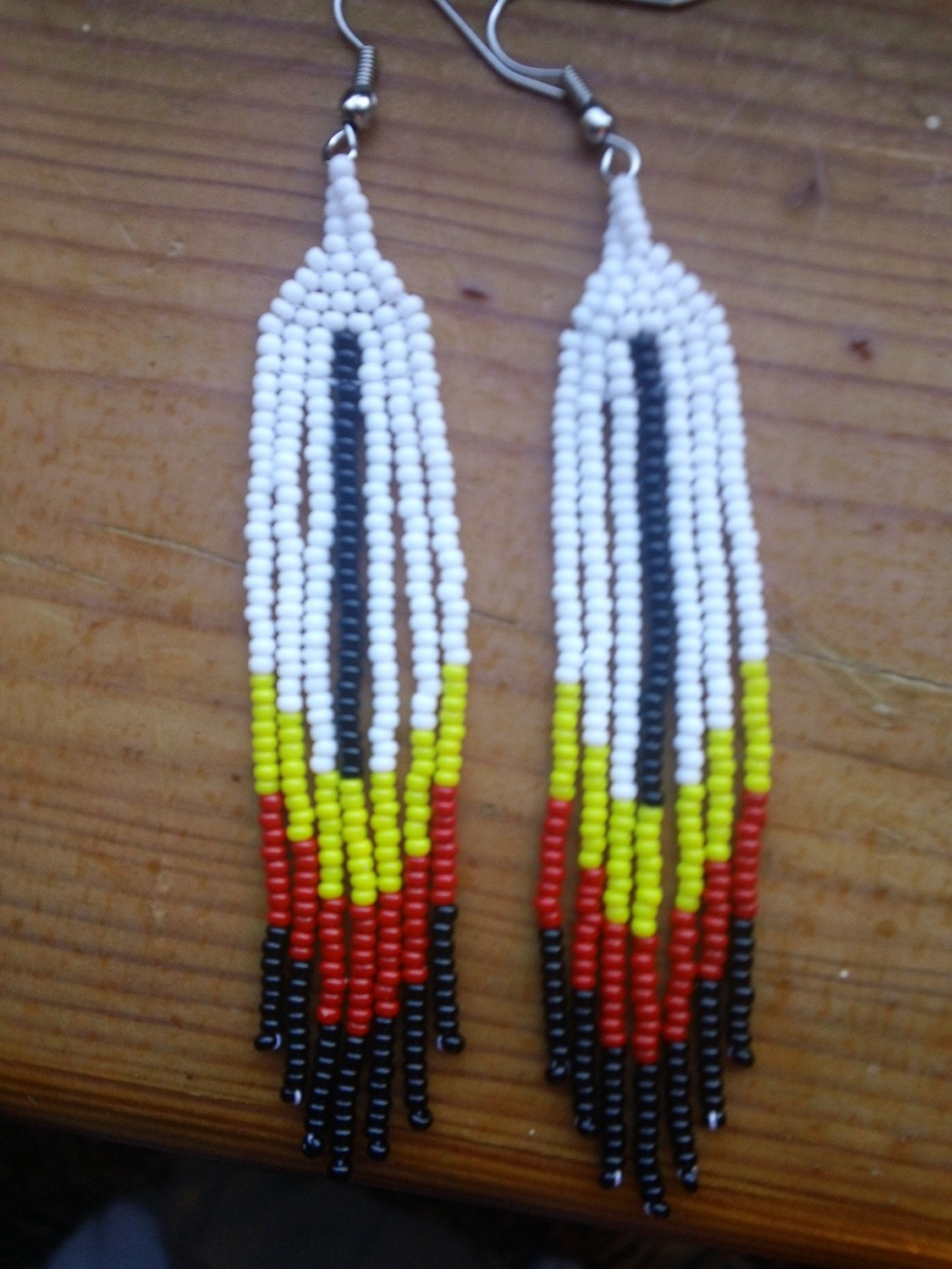 Native american beaded feather earrings for Native american feather jewelry