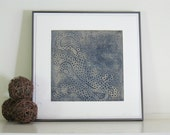 Etching Print, Navy Blue Modern Art: Nothing out of Something