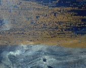 "Abstract Fine Art Print/ Navy Blue and Yellow Ochre Home Decor: Terrain 28 ...8"" x 8"" Size"