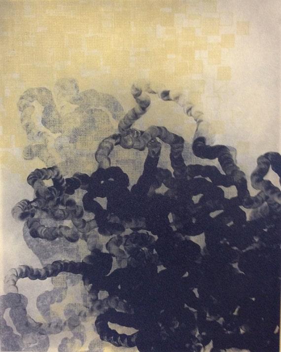 "Sale . Art Print . Original Etching Print .  Abstract Art: Retracing . Print Size 13"" x 17"" unframed ."