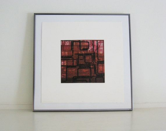 "Sale . Art Print . Etching Print . Red Abstract Art : Strange Ways .Print Size 15"" x 15"""