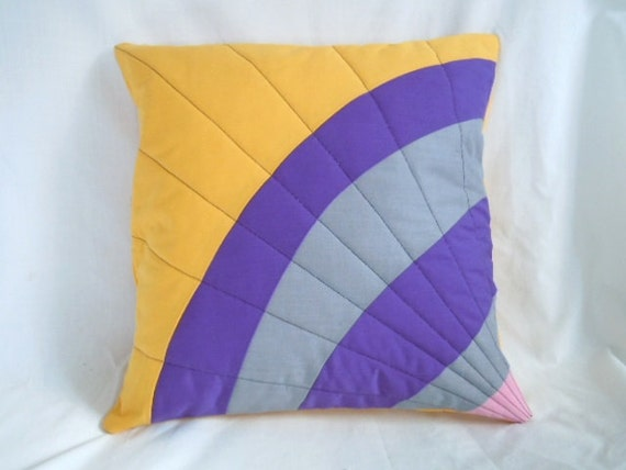 Modern Quilted Pillow Covers : Items similar to Quilted Pillow Cover 14x14 - Modern Sunshine on Etsy