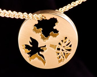 Gold Customizable Double Sided Pendant