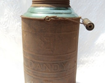 VINTAGE Dandy Oil Can With Blue Glass Insert