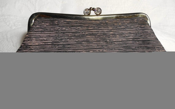 VINTAGE Clutch Purse Black And Gold With Rhinestones