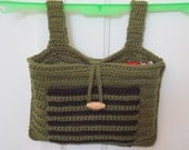 Crocheted Walker Bag Green Black Small Tote Caddy Organizer Mobility