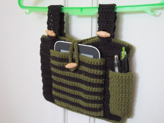 Crocheted Walker Bag Black Green Small Tote by ...