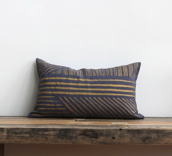 Metallic gold & slate blue handprinted organic hemp pillow cover 12x21