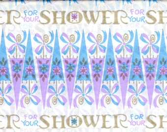 Baby Shower Wrapping Paper Vintage Gift Wrap Purple Pink Blue Child 1970's Flowers