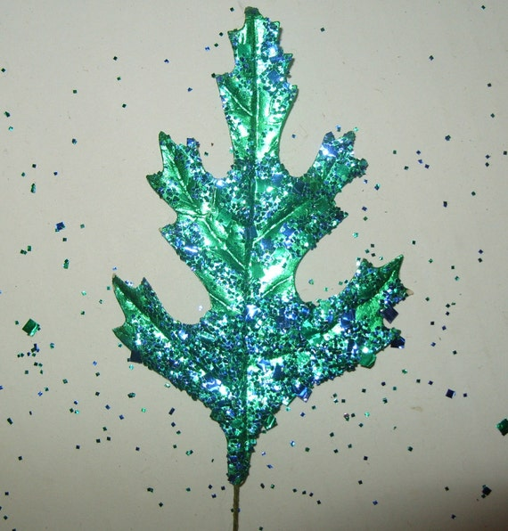 Vintage Millinery Flower Foil Leaves Turquoise Teal Blue Mica Glitter Green Christmas Craft