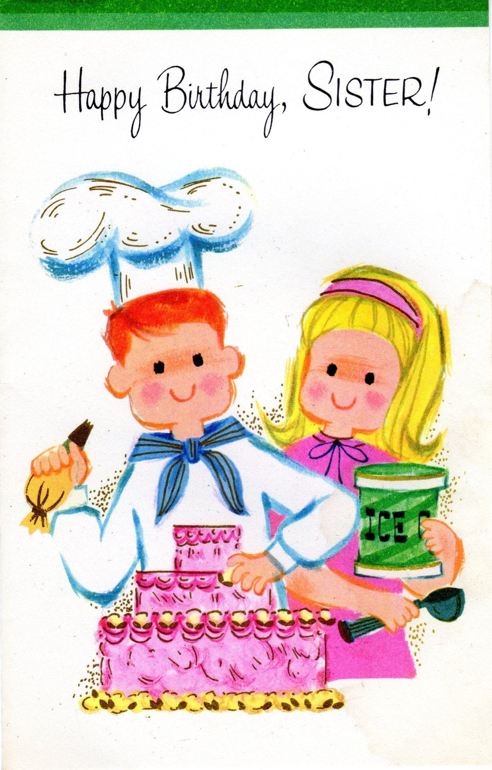 Birthday Cards Brother From Sister ~ Birthday card to sister chef brother summer by vintagepartypaper