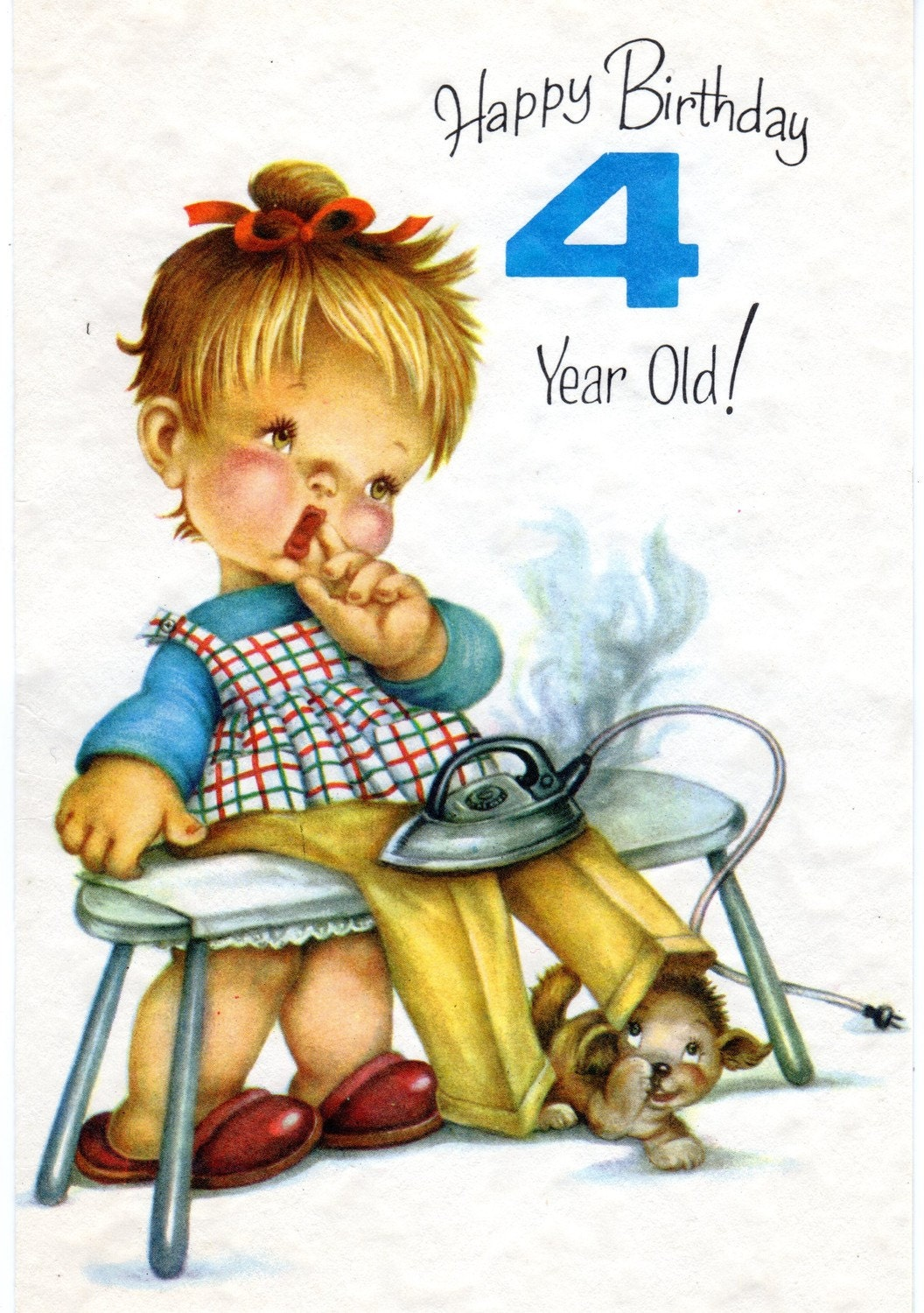 Vintage birthday greeting card for four year old child