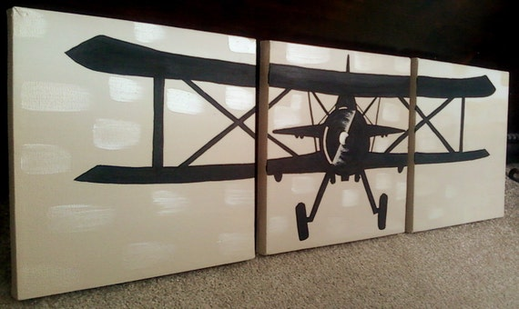 Biplane Fighter - 3-10x10 Hand-painted Stretched Canvas (Made to Order)