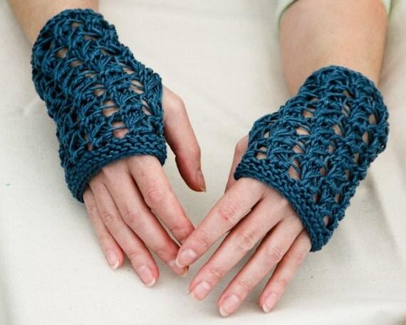 Fingerless Gloves Blue