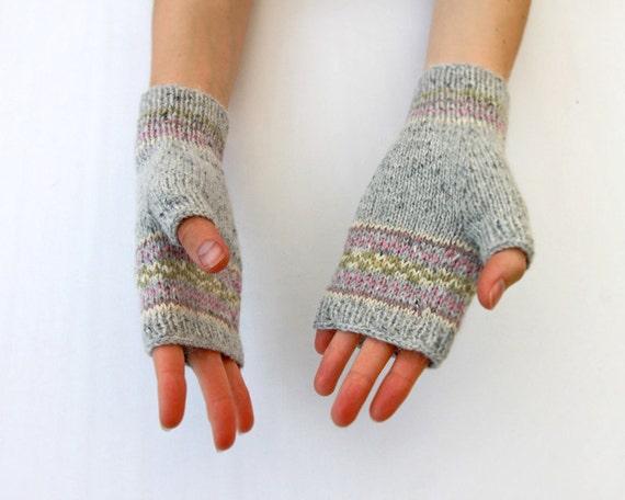 Gray Wool Blend Fingerless Gloves with Fair Isle Pattern