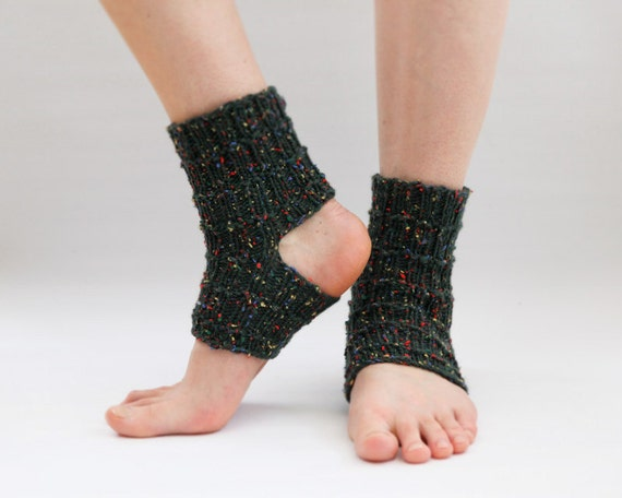 Toeless Socks, Dance Socks, Yoga Socks, Wool Toeless Socks, Dark Green Socks,Wool Green Socks